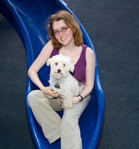 Author Tui Sutherland relaxes with her dog Sunshine in Watertown, MA on June 11, 2008